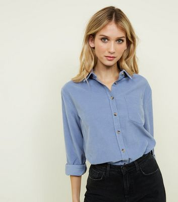 Pale Blue Corduroy Long Sleeve Collared Shirt