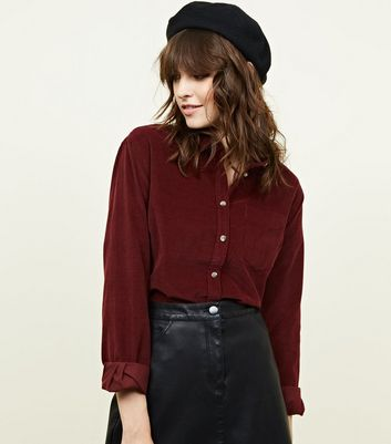 Burgundy Corduroy Long Sleeve Collared Shirt
