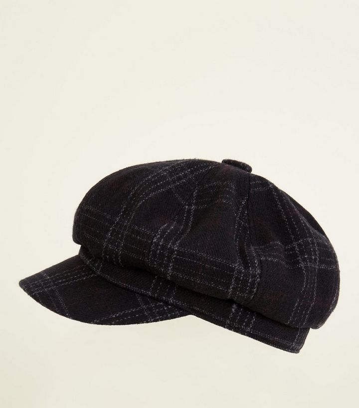 56ecf8450027c Black Check Pattern Baker Boy Hat