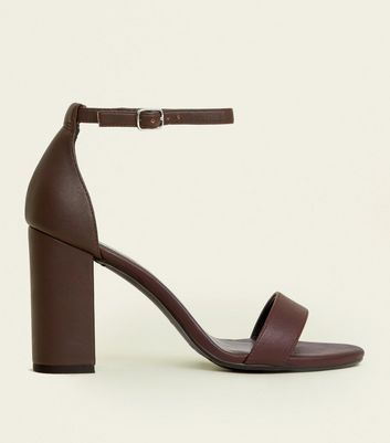 Wide Fit Dark Brown Leather-Look Block Heels