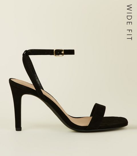 aa232412030 ... Wide Fit Black Suedette Strappy Square Toe Heels ...