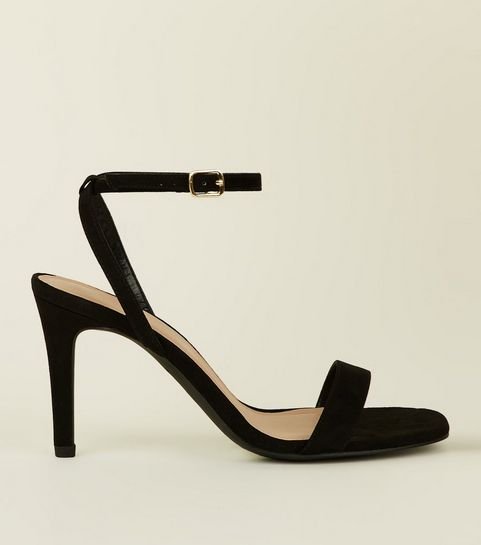 20d0347073be ... Wide Fit Black Suedette Strappy Square Toe Heels ...