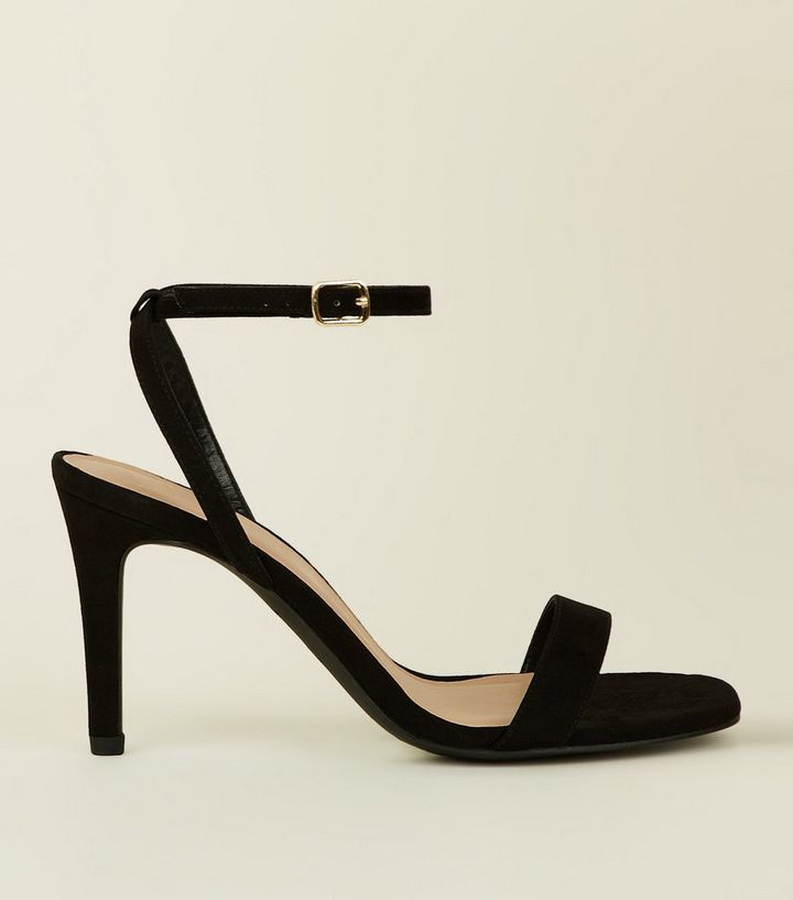 5f6b25d8379 Wide Fit Black Suedette Strappy Square Toe Heels