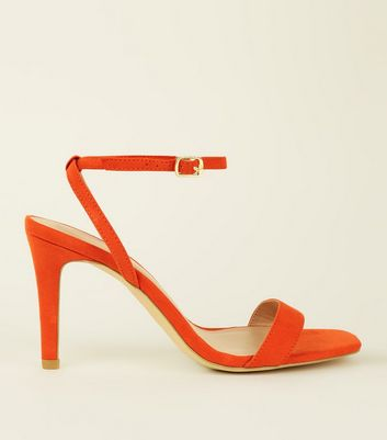 Wide Fit Bright Orange Suedette Strappy Square Toe Heels