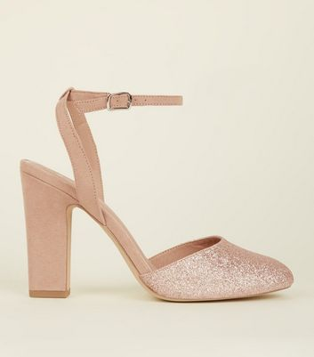 Wide Fit Rose Gold Round Toe Block Heels