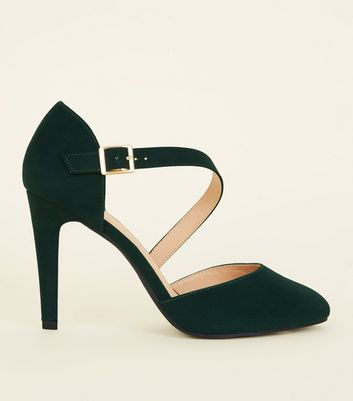 Wide Fit Dark Green Asymmetric Strap Courts