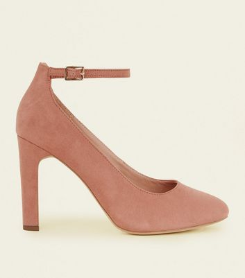 Wide Fit Pink Suedette Ankle Strap Courts