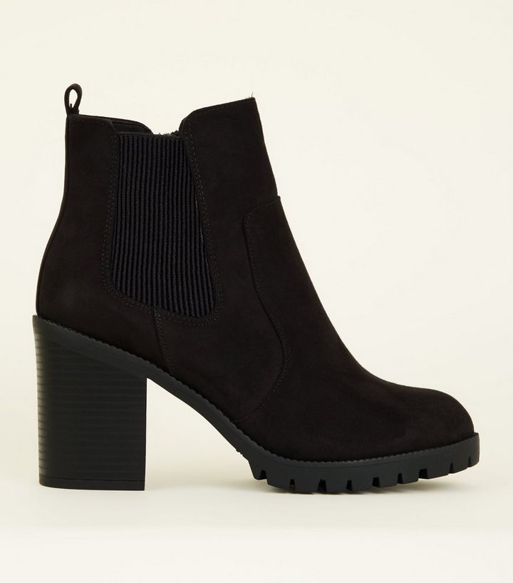 exclusive deals high quality materials modern techniques Wide Fit Black Suedette Block Heel Chunky Boots Add to Saved Items Remove  from Saved Items