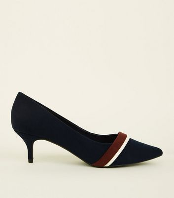 Wide Fit Navy Suedette Kitten Heel Courts