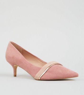 Wide Fit Pink Suedette Kitten Heel Courts