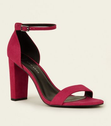 Wide Fit Bright Pink Suedette Ankle Strap Block Heels