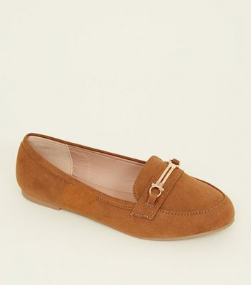 Wide Fit Tan Suedette Bar Trim Loafers
