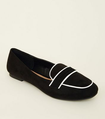 Wide Fit Black Suedette Contrast Piping Loafers