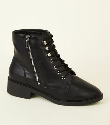 Wide Fit Black Lace-Up Boots