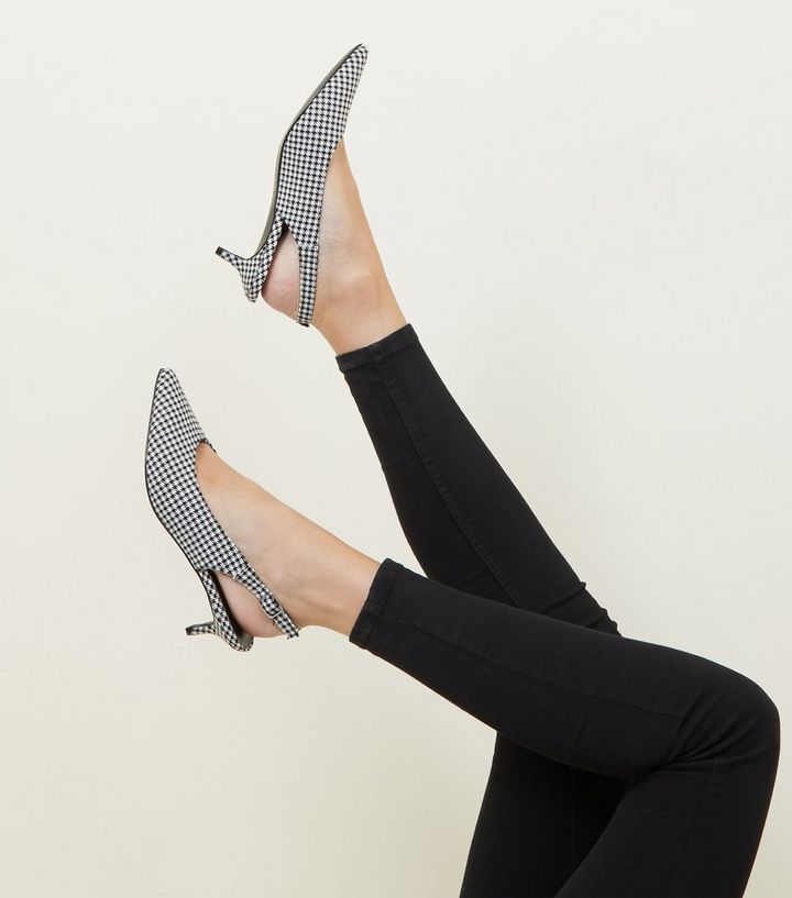 226861c8116 ... Black Houndstooth Check Slingback Kitten Heels. ×. ×. ×. Shop the look