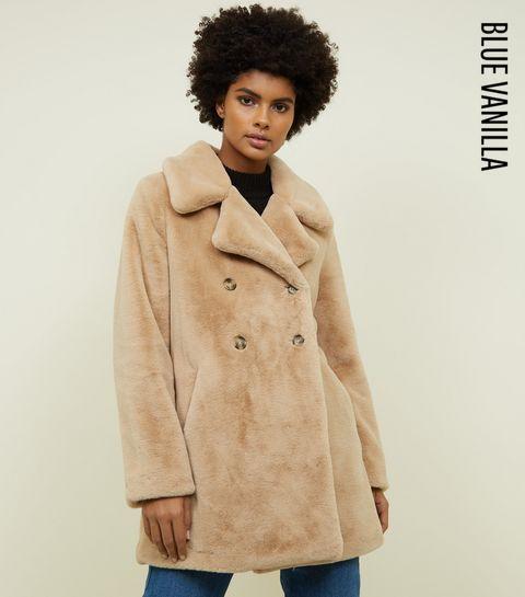 b689301aeaf ... Blue Vanilla Stone Double Breasted Faux Fur Coat ...