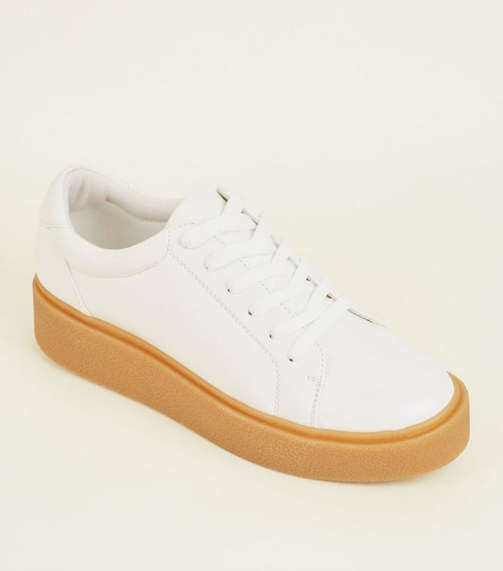 rationelle Konstruktion wie man kauft neue Fotos Weiße Creeper-Sneaker mit dicker Sohle   New Look