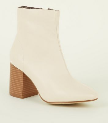 Cream Leather-Look Wood Heel Ankle Boots
