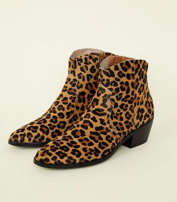 Tan Leather Leopard Print Western Boots