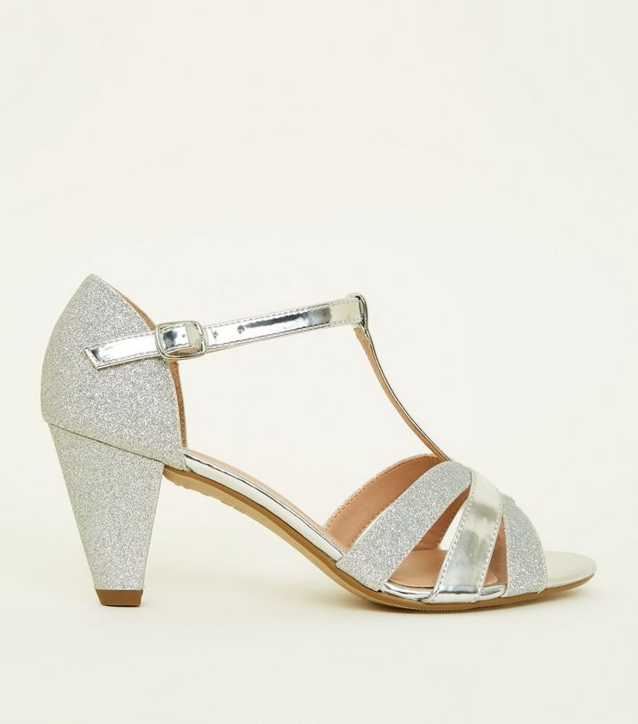 b7f63b2284d Girls Silver Contrast Glitter Cone Heel Sandals Add to Saved Items Remove  from Saved Items
