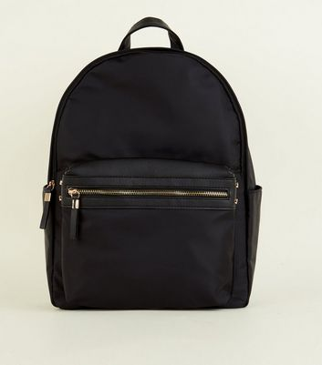 Black Nylon and Leather-Look Backpack