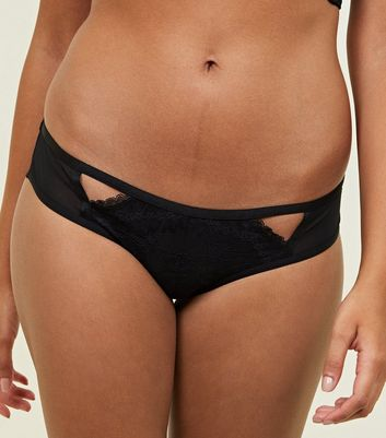 Black Lace Overlay Brazilian Briefs