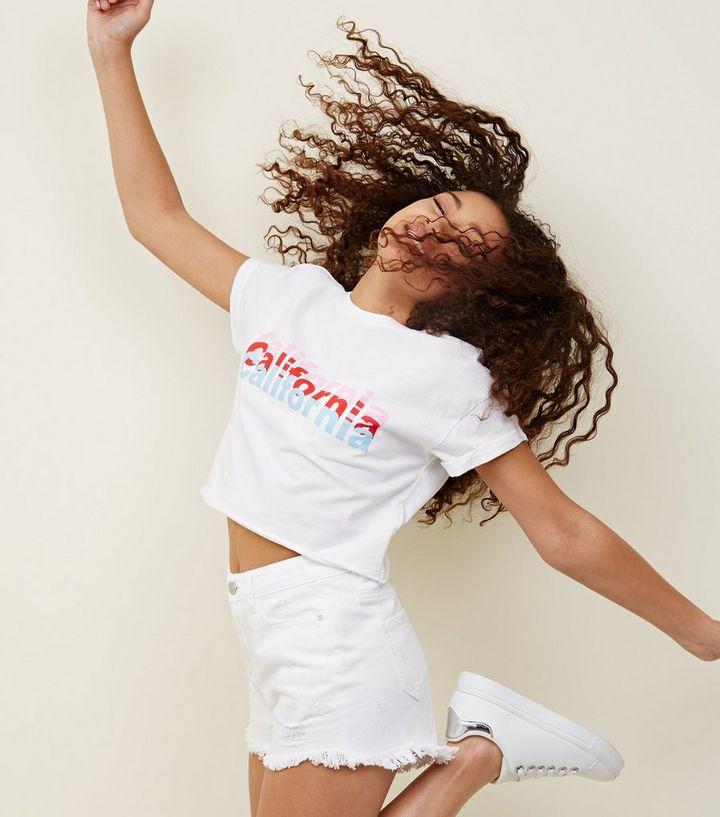 3893e706 Teens White California Print T-Shirt | New Look