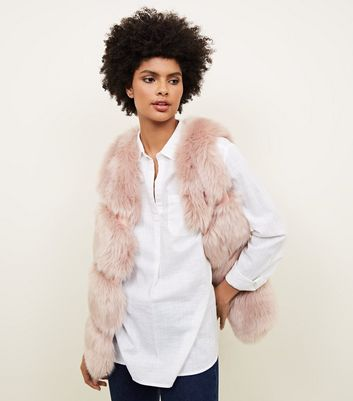 Pale Pink Pelted Faux Fur Gilet