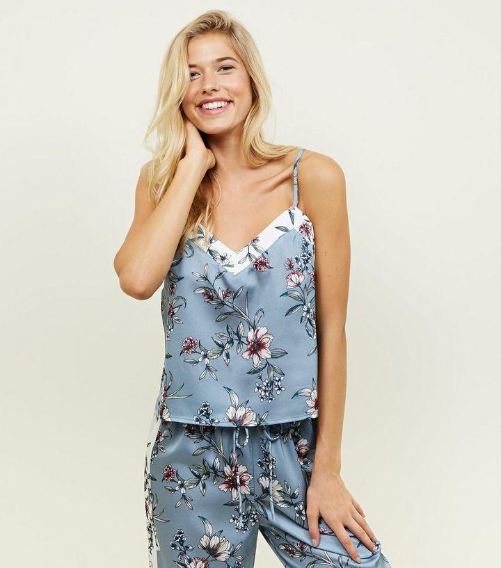 5d7048d850 Nicola Blue Floral Satin Pyjama Cami