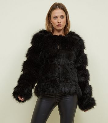Black Pelted Faux Fur Coat