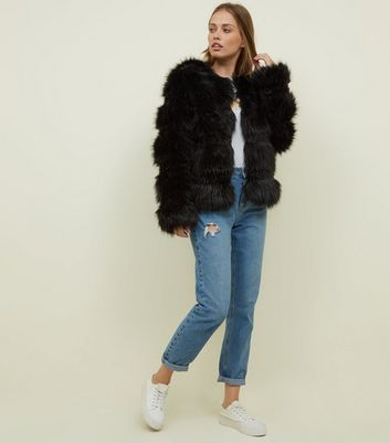 New Look Maternity faux fur coat in black
