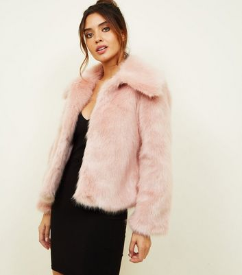 Pink Collared Faux Fur Jacket