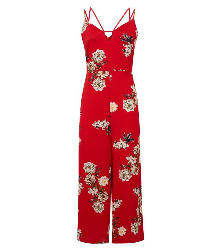 9521ef27a1c8 ... Cameo Rose Red Floral Keyhole Neck Cropped Jumpsuit. ×. ×. ×. Shop the  look