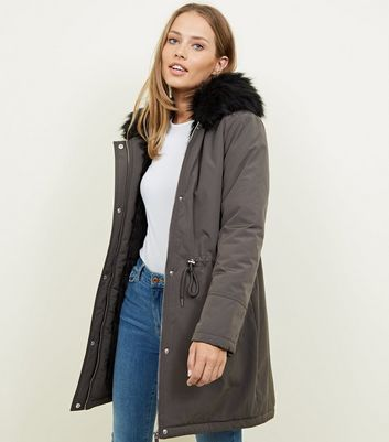 Dark Grey Faux Fur Hooded Parka