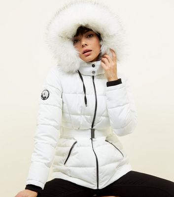 White Faux Fur Hood Belted Puffer Jacket
