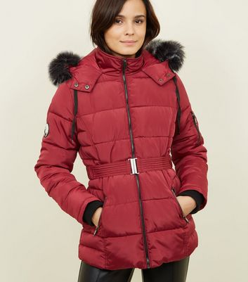 Burgundy Faux Fur Hood Belted Puffer Jacket