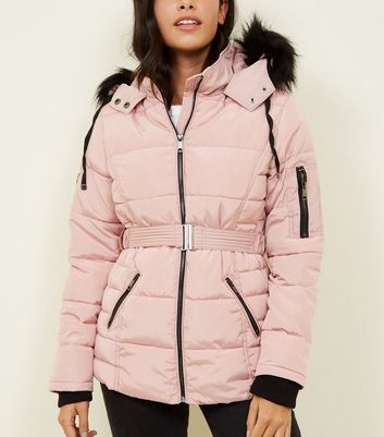 Pale Pink Faux Fur Hood Belted Puffer Jacket