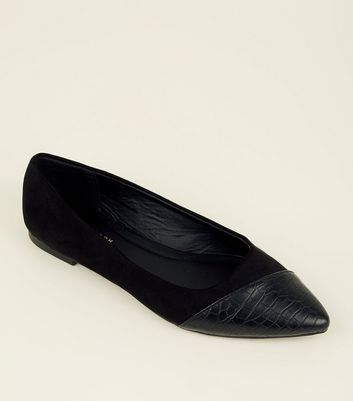 Black Faux Croc Panel Pointed Ballet Pumps
