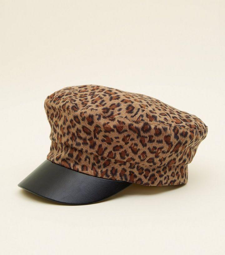 Brown Leopard Print Baker Boy Hat  11375f0cc0c