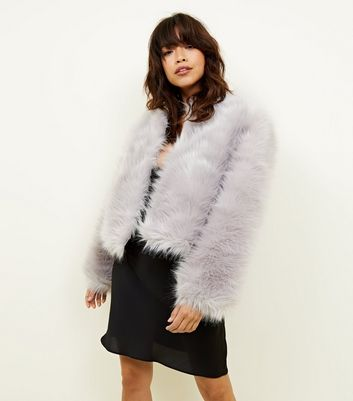 Pale Grey Faux Fur Cropped Collarless Jacket