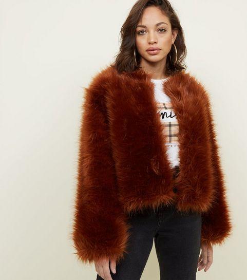 1f0edc6946e1 ... Rust Fax Fur Cropped Collarless Jacket ...