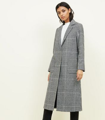 Black Check Bar Back Maxi Coat