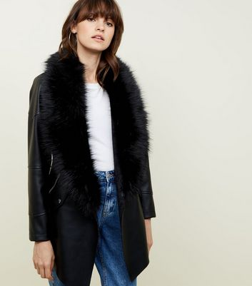 Black Faux Fur Collar Waterfall Jacket New Look