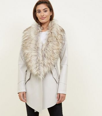 Stone Waterfall Leather Faux Fur Collar Jacket