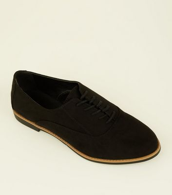 Black Suedette Lace Up Shoes