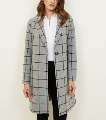 Grey Grid Check Longline Coat