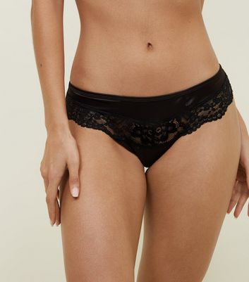 Black Satin Lace Trim Cut-Out Brazilian Briefs
