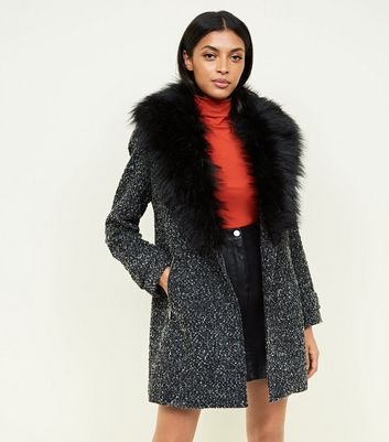 Black Shawl Faux Fur Collar Coat