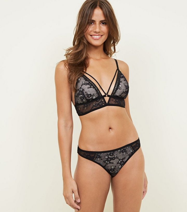 e6ad97dad9607 Black Floral Lace Removable Padded Bralette