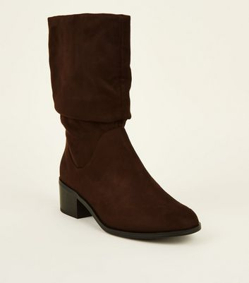 Girls Rust Suedette Slouch Calf Boots